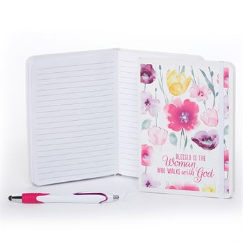 Blessed Is The Woman Who Walks With God Pink Floral Spiral Notebook With Pen