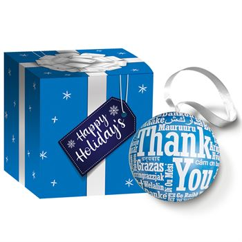 Thank You (Word Cloud) Metal Ornament With Hershey's® Holiday Miniatures Chocolates In Holiday Gift Box