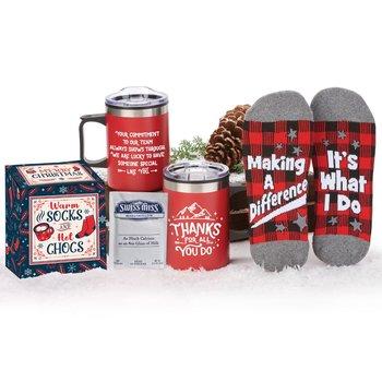 Thanks For All You Do Sonoma Mug, Buffalo Plaid Socks, & Hot Chocolate Gift Set In Holiday Gift Box