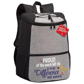 Proud Of The Work We Do & The Difference We Make Hemingway Backpack Cooler With Holiday Gift Card