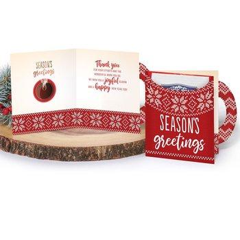 Season's Greetings Mug-Shaped Greeting Card With Hot Chocolate