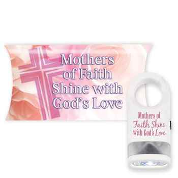 Mothers Of Faith Shine With God's Love White LED Carabiner Flashlight Lamp with Pillow Box
