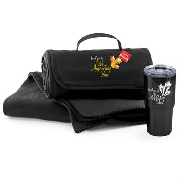 For All You Do We Appreciate You Black Fleece Blanket & Tumbler Combo with Holiday Gift Card and Sleeve