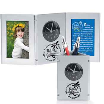 Making A Difference Today, Tomorrow & Always Silver Tri-Fold Frame Clock & Caddy With Card
