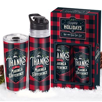 Thanks For Making A Difference Buffalo Plaid Hot & Cold Drinkware Gift Set