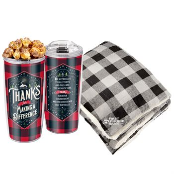 Mink Sherpa Blanket & Insulated Tumbler With Holiday Wrap