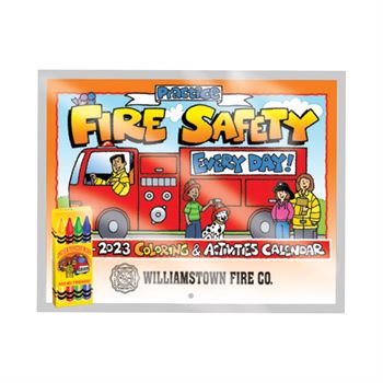 Practice Fire Safety Every Day! 2019-2020 Coloring & Activities Calendar with Crayons - Personalization Available