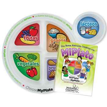 Child's Portion Meal Plate With Spanish Language Educational Activities Book - Personalization Available