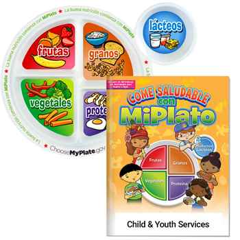 Preschool Portion Meal Plate With Spanish Language Parent-Child Activities Book - Personalization Available