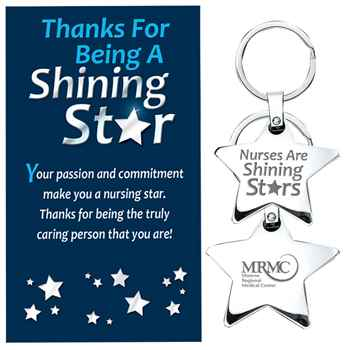 Nurses Are Shining Stars - Star Key Tag With Keepsake Card - Personalization Available