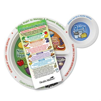 Diabetes Portion Meal Plate With Glancer (Spanish) - Personalization Available