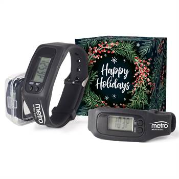 Silicone Fitness Watch Pedometer with Holiday Gift Box - Personalization Available