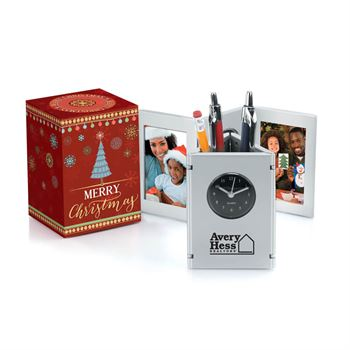 Tri-Fold Frame Clock & Caddy in Merry Christmas Gift Box - Personalization Available