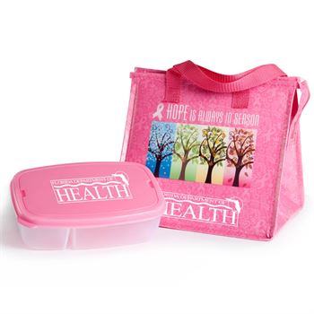Breast Cancer Awareness Insulated Eco-Lunch Bag & Food Container Gift Combo With Personalization