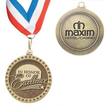 In Honor Of Excellence Staff Performance Medallion With Ribbon - Personalized