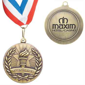 Attendance Staff Performance Medallion With Ribbon - Personalized