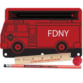 Fire Truck 4-Piece Pencil Pouch Gift Set - Personalization Available