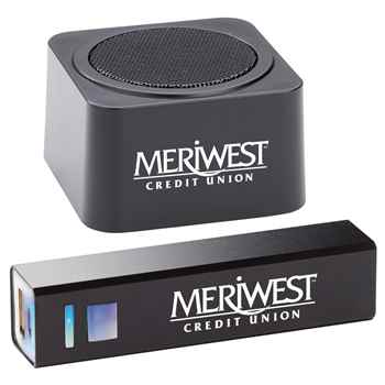Black Bluetooth® Speaker & Metal Power Bank GIft Set