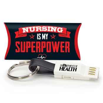 3-in-1 Charging Cord Keychain with Nurses Pillow Box - Personalization Available