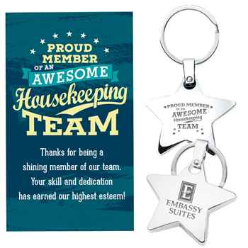 Proud Member Of An Awesome Housekeeping Team Star Key Tag With Keepsake Card Plus Personalization