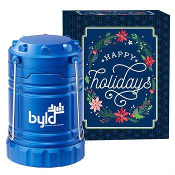Blue Indoor/Outdoor Lantern With Magnetic Base In Holiday Gift Box - Personalization Available