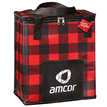 Buffalo Plaid Laminated Insulated Cooler Bag With Holiday Gift Card - Personalization Available