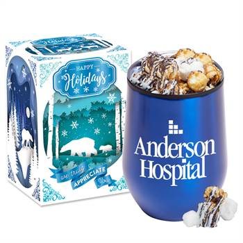 Blue Stemless Stainless Steel Tumbler 12-Oz. with S'mores Popcorn in Holiday Gift Box - Personalization Available