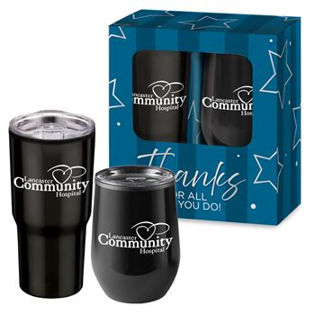 Warm Up & Chill Out Black Drinkware 2-Piece Gift Set - Personalization Available