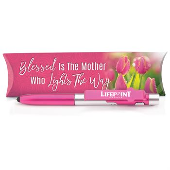 Blessed Is The Mother Who Lights The Way 6-in-1 Elite Stylus Pen, Light & Phone Stand with Pillow Box - Personalization Available