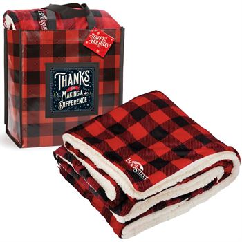 Thanks For Making A Difference Buffalo Plaid Mink Sherpa Blanket & Laminated Tote Gift Set With Holiday Gift Card - Personalization Available