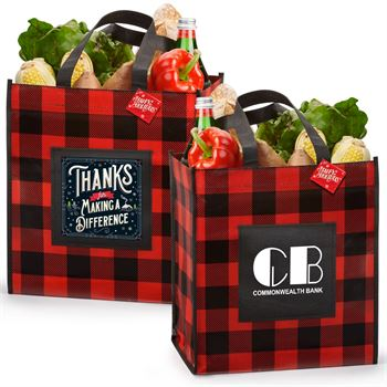 Buffalo Plaid Laminated Eco-Shopper Holiday Tote With Holiday Gift Card - Personalization Available