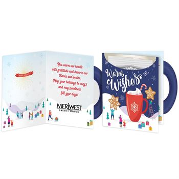 Warm Wishes Mug-Shaped Greeting Card With Hot Chocolate - Personalization Available