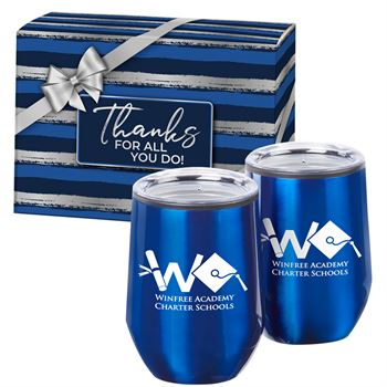 Cheers 2-Piece Blue Stainless Steel Tumbler Set With Gift Box - Personalization Available