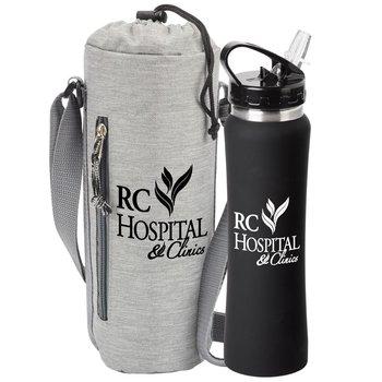 Stainless Steel Water Bottle & Insulated Bottle Cooler Sling Gift Set