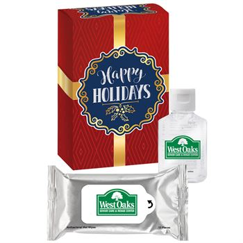Antibacterial Wet Wipes & Hand Sanitizer Gift Set In Holiday Gift Box - Personalization Available