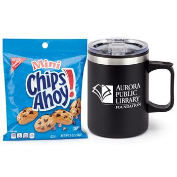 Sonoma Black Stainless Steel Mug 12-Oz. With Cookies - Personalization Available