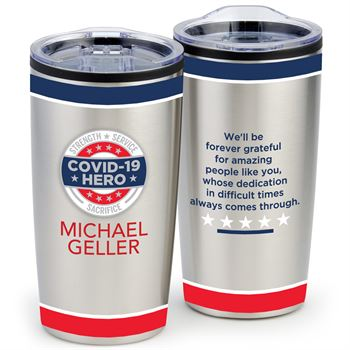 COVID-19 Hero, Strength, Service, Sacrifice Teton Stainless Steel Tumbler 20-oz. With Individual Name Personalization
