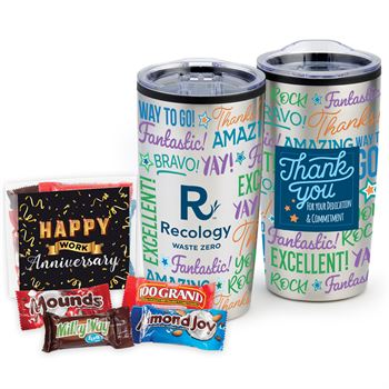 Appreciation Word Cloud ColorBlast 360° Teton Stainless Steel Tumbler 20-Oz. With Chocolate-Covered Pretzels - Company Name Personalization Available