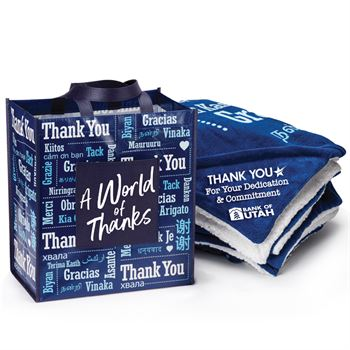 Word Cloud Sherpa Blanket & Tote Gift Set With Gift Card - Personalization Available