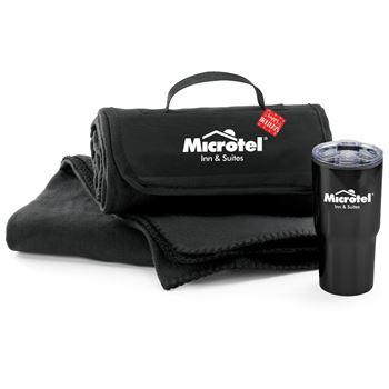 Black Fleece Blanket & Tumbler Combo with Holiday Gift Card & Sleeve - Personalization Available