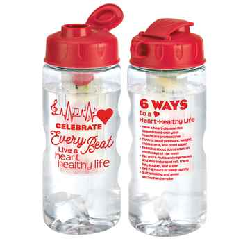 Celebrate Every Beat: Live A Heart-Healthy life Fruit Infuser Water Bottle 22-Oz.