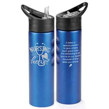 Nursing Is A Work Of Heart Essex Stainless Steel Water Bottle 25-Oz.