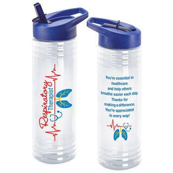 Respiratory Therapist Heartbeat Design Solara Water Bottle 24-Oz.