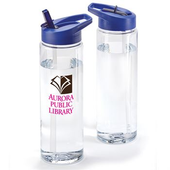 Solara Water Bottle 24-Oz. With Blue Lid - Full Color Personalization Available