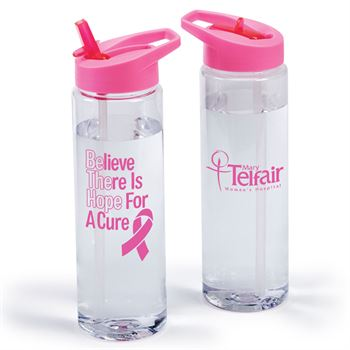 Believe There Is Hope For A Cure Solara Water Bottle 24-Oz. With Pink Sipper Lid Plus Personalization