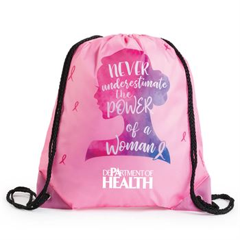 Never Underestimate The Power Of A Woman Nylon Drawstring Backpack