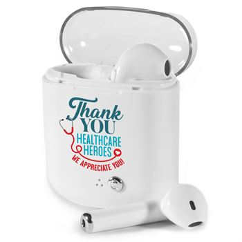 Thank You To All Healthcare Heroes Bluetooth ® Earbuds In Charging Case