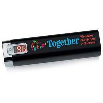 Together We Make Our School A Success Black Metal Power Bank With Digital Power Display
