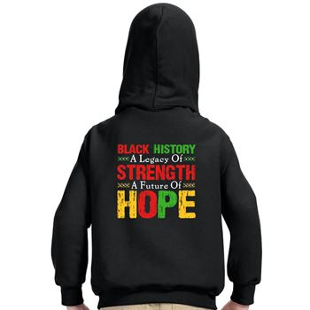 Youth 2-Sided Personalized Black Hooded Sweatshirt