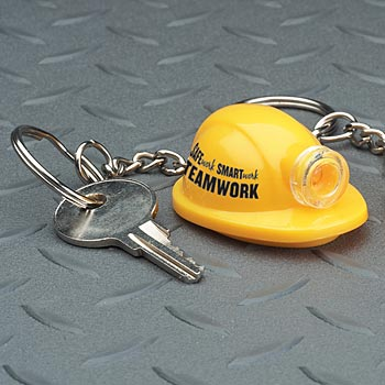 Safe Work, Smart Work, Teamwork Safety Hard Hat Light-Up Key Tags